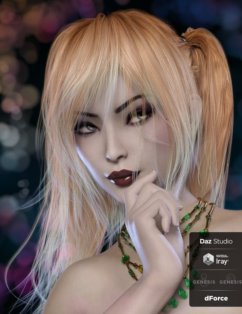 Kinley Hair with dForce for Genesis 3 and 8 Female(s) by: Lady Littlefox, 3D Models by Daz 3D