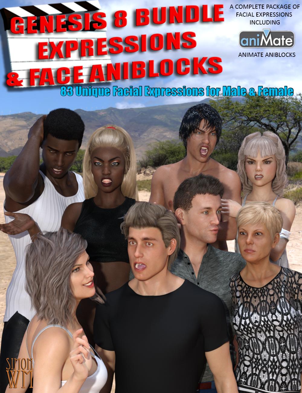 Genesis 8 Bundle Expressions & Face aniBlocks by: SimonWM, 3D Models by Daz 3D