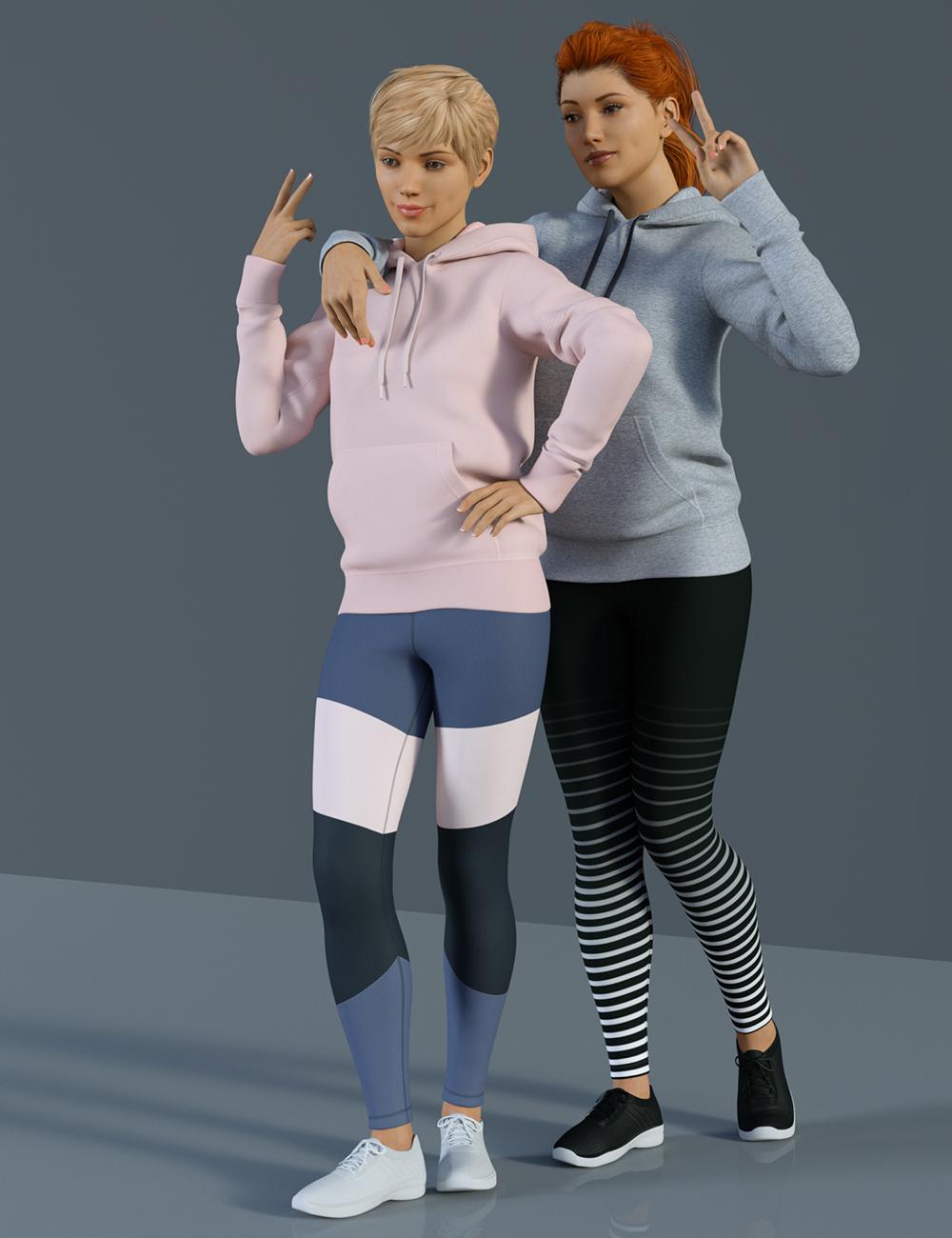 H&C Hoodie & Training Wear for Genesis 8 Female(s) by: IH Kang, 3D Models by Daz 3D