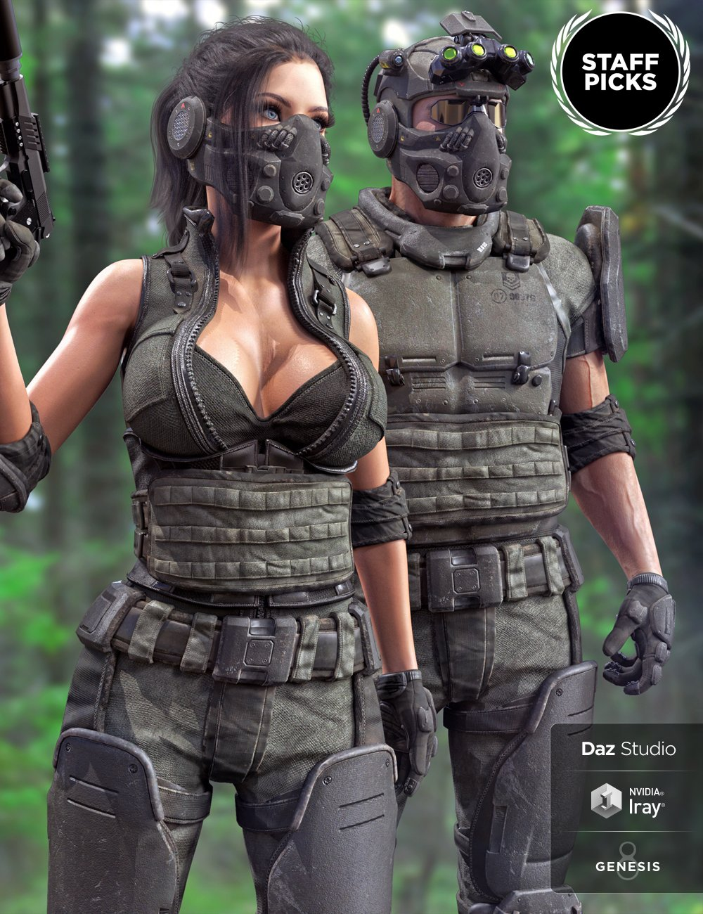 Tactical Assault Outfit for Genesis 8 Male(s) and Female(s) by: Herschel Hoffmeyer, 3D Models by Daz 3D