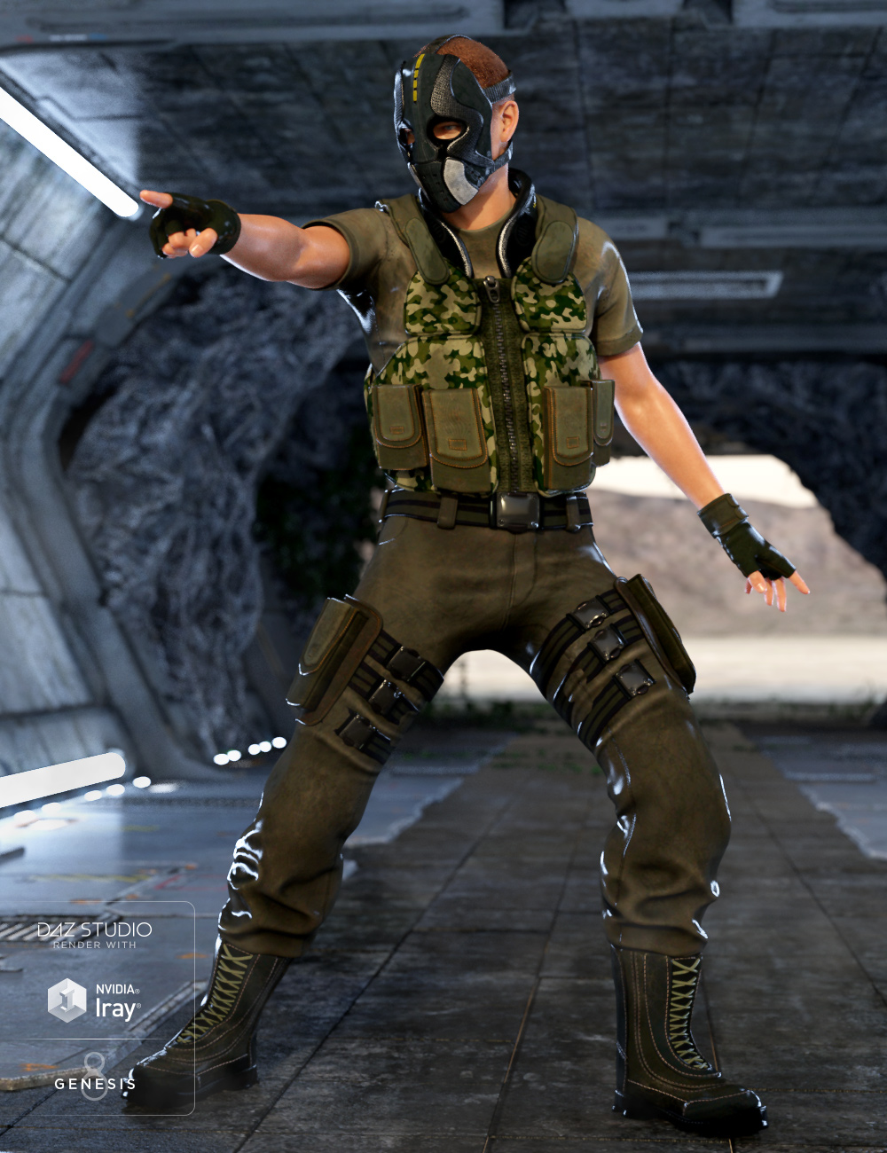 Renegade Soldier Outfit for Genesis 8 Male(s) by: DemianYura, 3D Models by Daz 3D