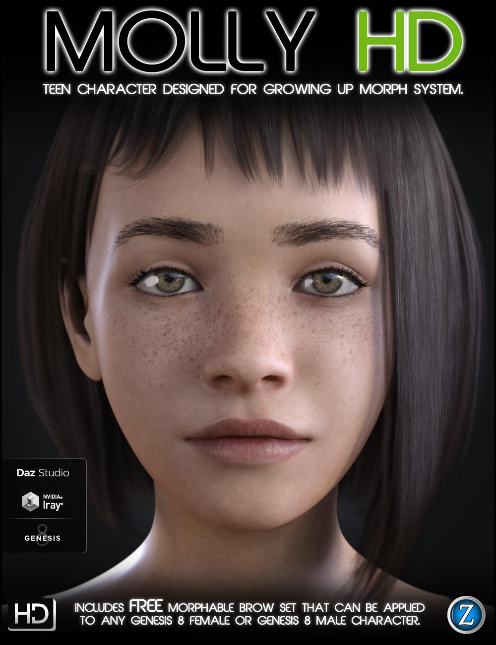 Molly HD for Genesis 8 Female by: Zev0, 3D Models by Daz 3D