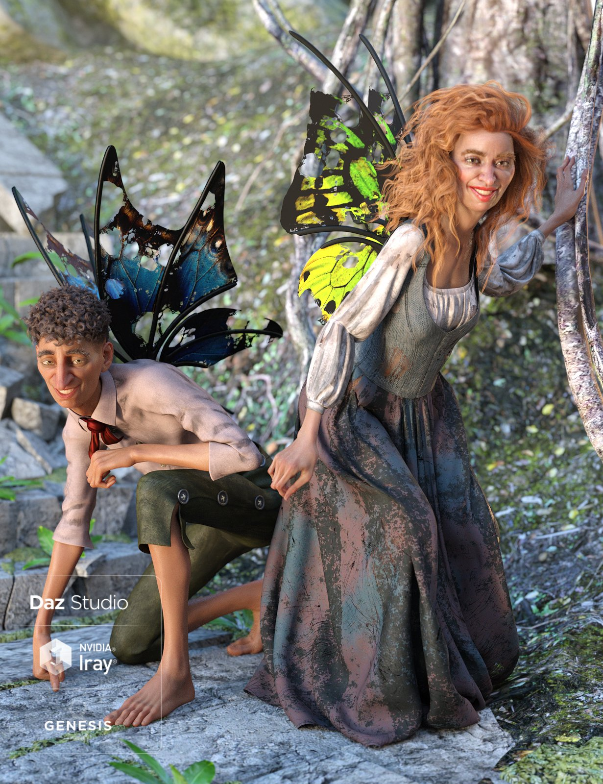 Sprig Fay Wings for Genesis 8 Male(s) & Female(s) by: NikisatezMoonscape GraphicsSade, 3D Models by Daz 3D