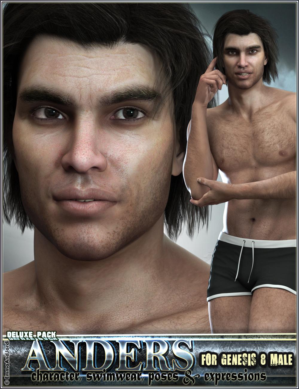 EJ Anders Deluxe Pack for Genesis 8 Male by: EmmaAndJordi, 3D Models by Daz 3D