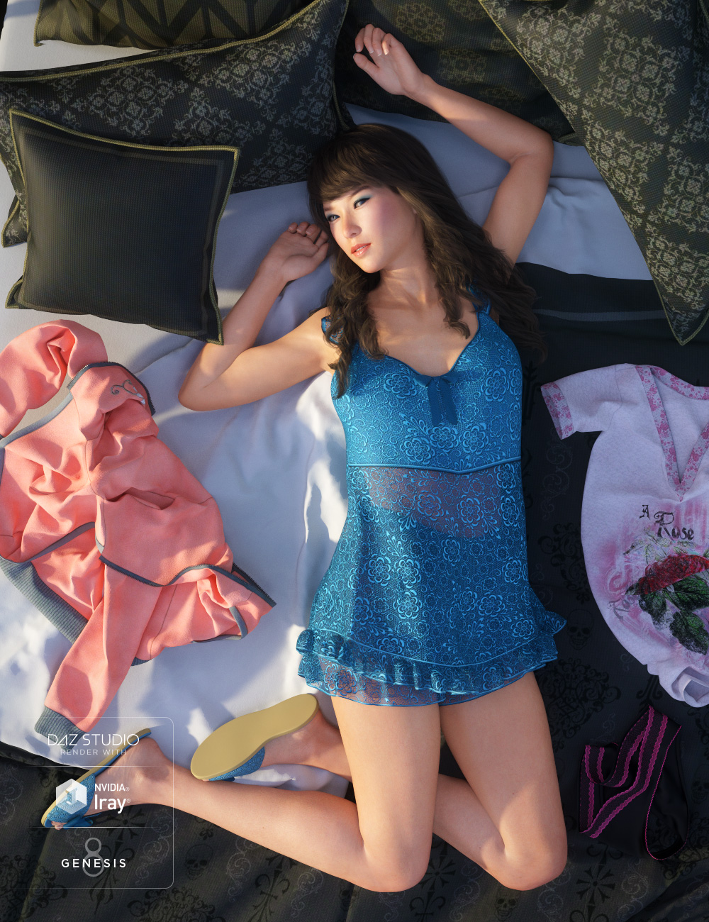 Teddy Sleepwear for Genesis 8 Female(s) by: Ravenhair, 3D Models by Daz 3D