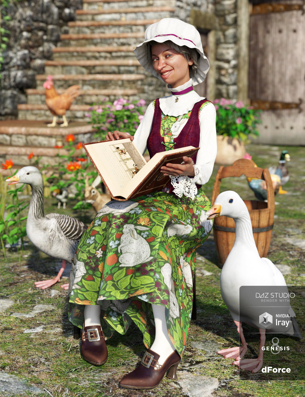 dForce Mother Goose Outfit for Genesis 8 Female(s) by: Anna BenjaminMada, 3D Models by Daz 3D