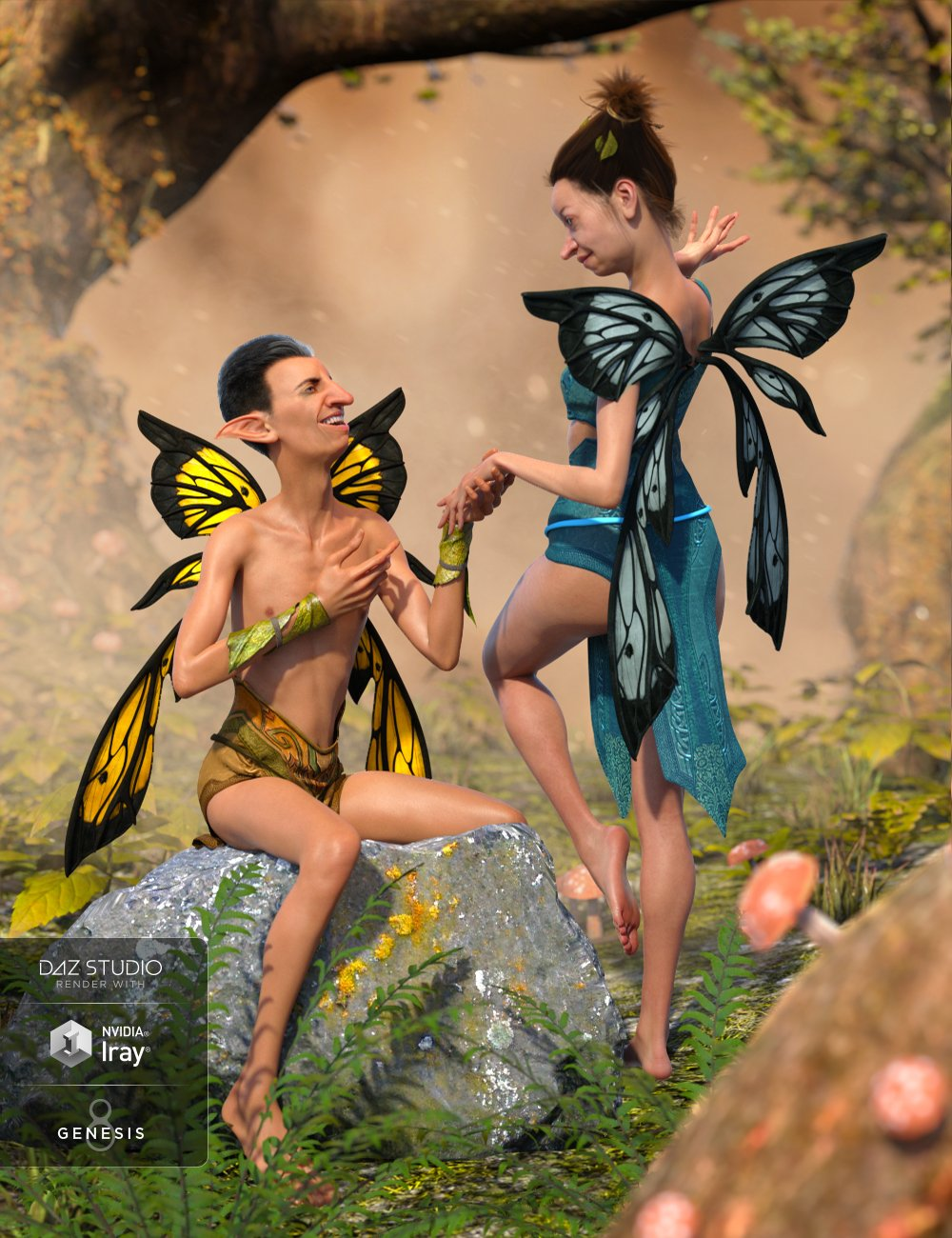 Nocturnal Fay Wings for Genesis Male(s) & Female(s) by: NikisatezSarsa, 3D Models by Daz 3D