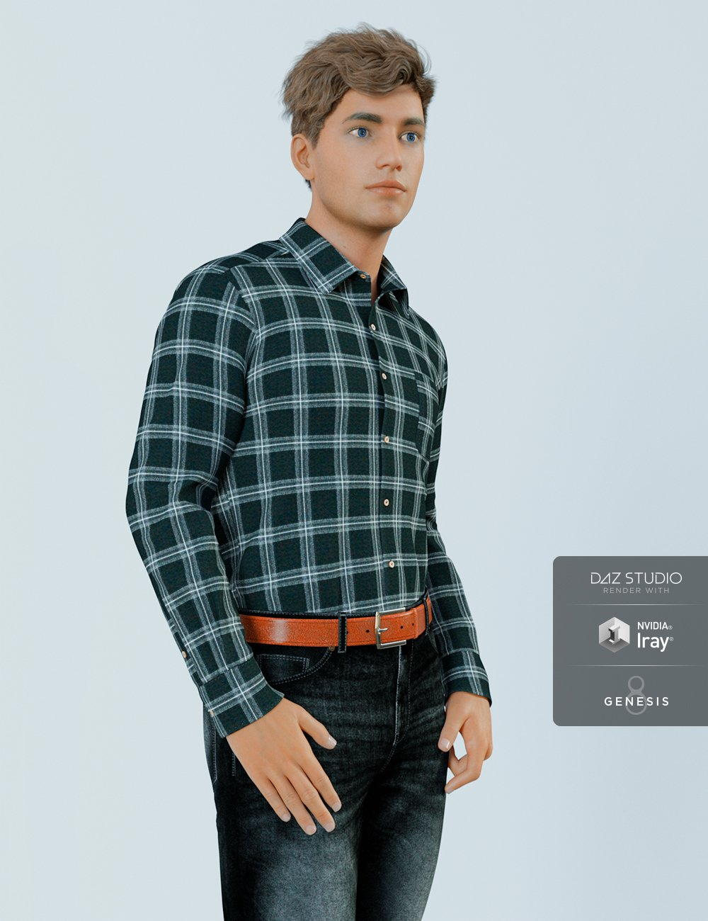 H&C Checkered Shirt Outfit for Genesis 8 Male(s) by: IH Kang, 3D Models by Daz 3D