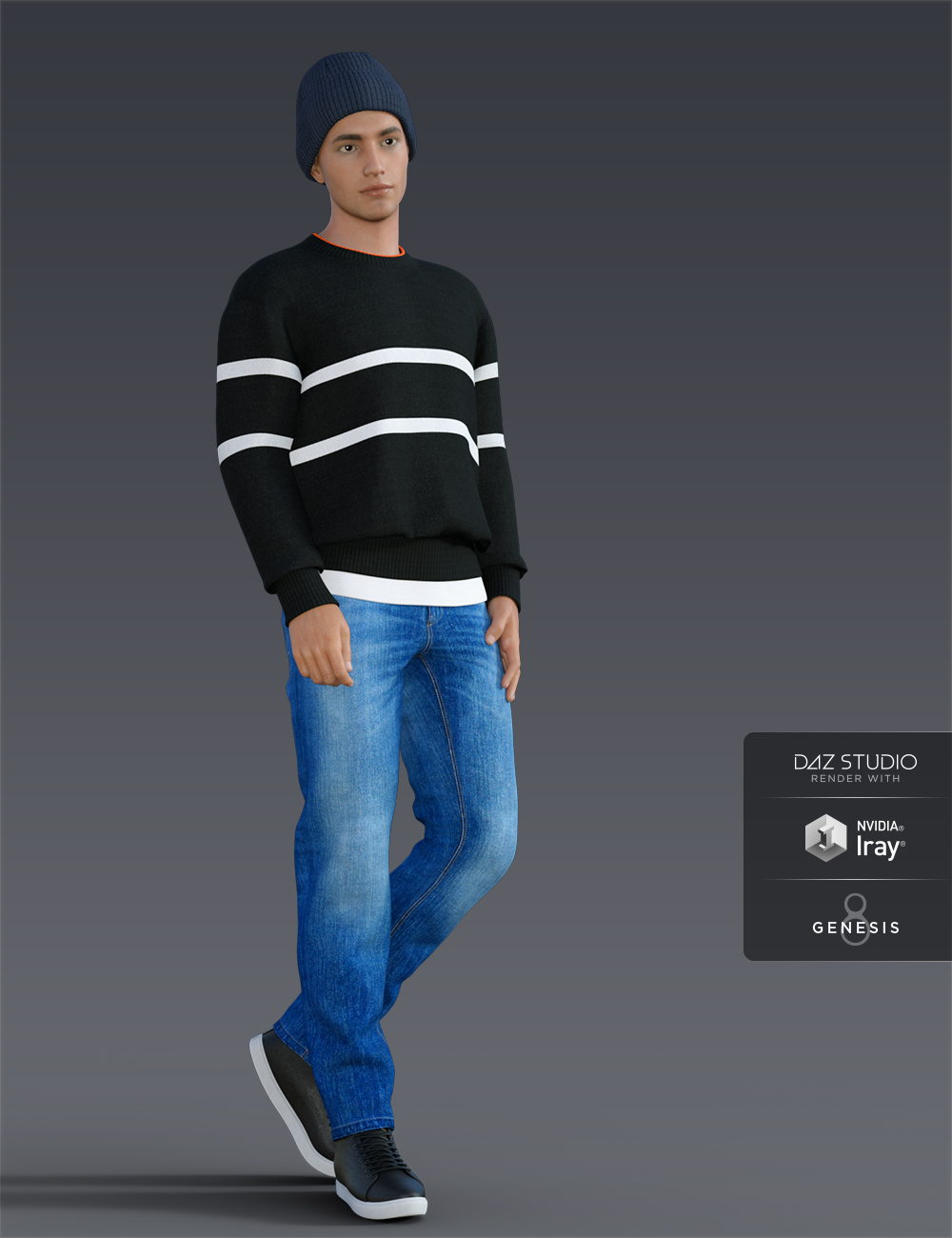 H&C Knit Sweater Outfit for Genesis 8 Male(s) by: IH Kang, 3D Models by Daz 3D