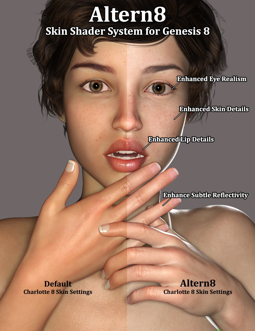 Altern8 - Skin Shader System for Genesis 8 by: 3Diva, 3D Models by Daz 3D