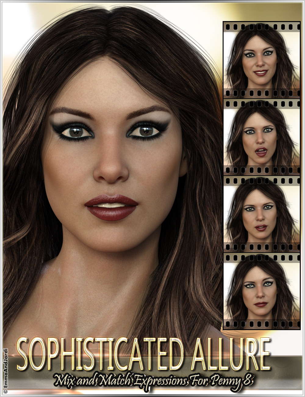 Sophisticated Allure Mix and Match Expressions for Penny 8 and Genesis 8 Female(s) by: EmmaAndJordi, 3D Models by Daz 3D