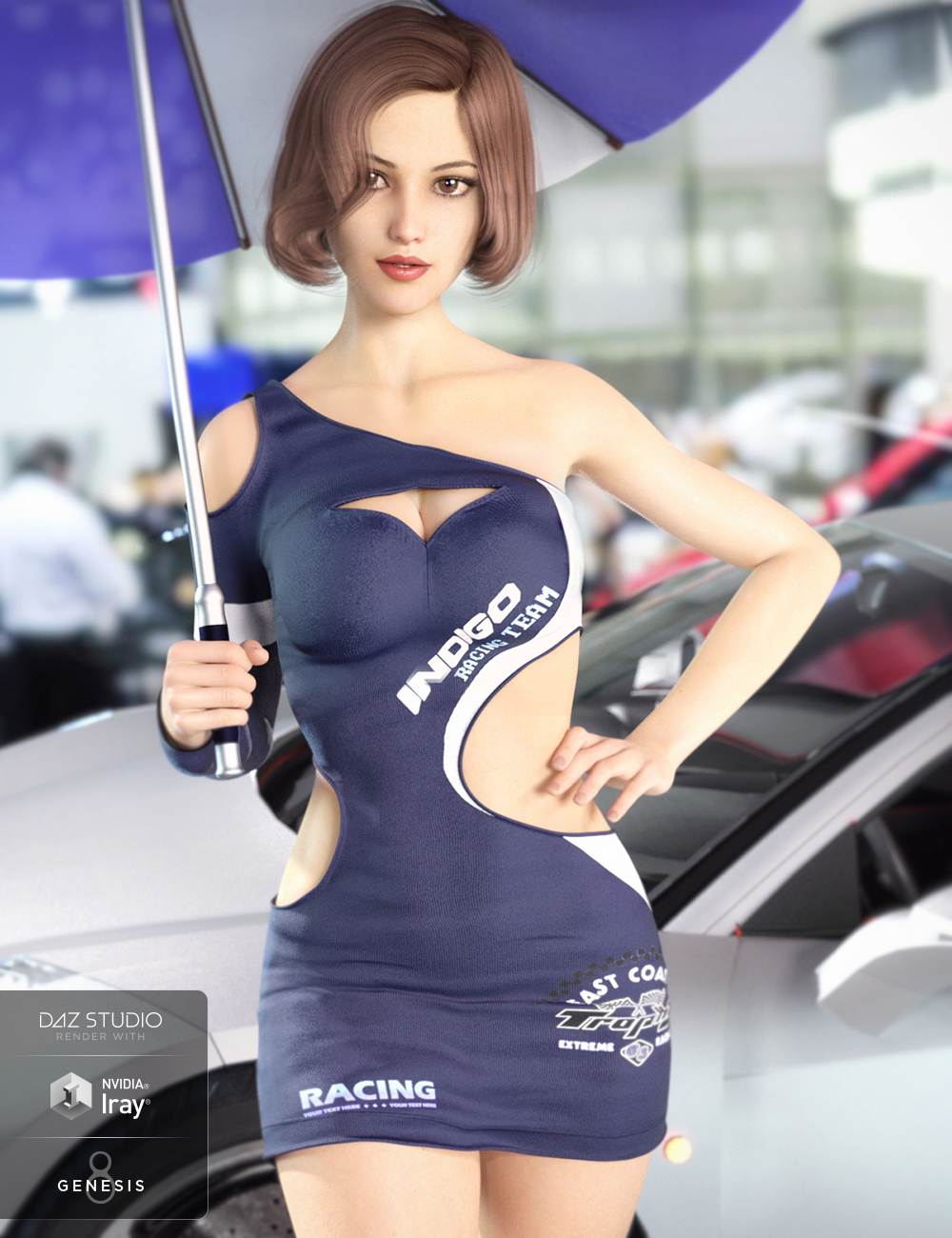 Racing Queen's Outfit for Genesis 8 Female(s) by: Crocodile Liu, 3D Models by Daz 3D