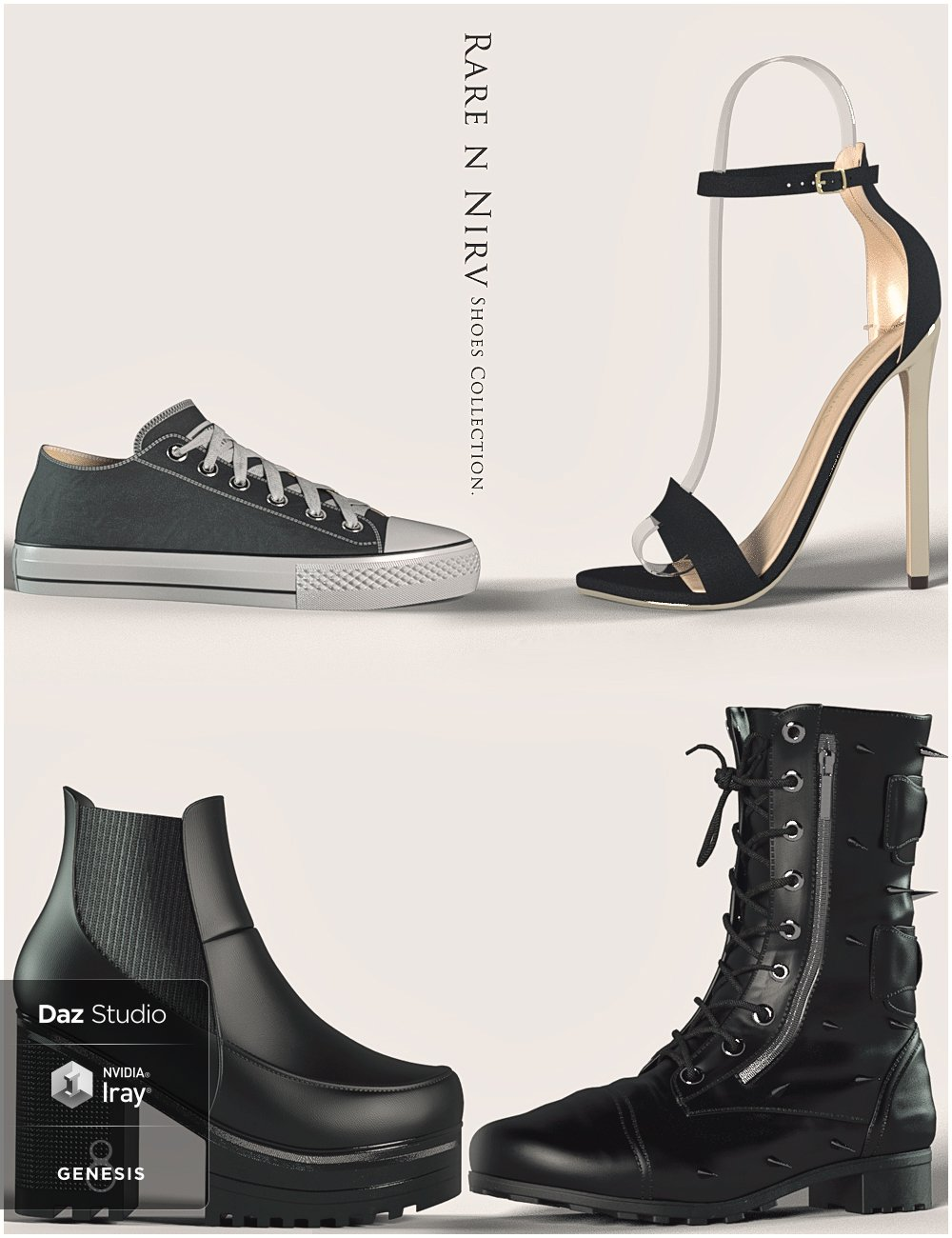 Rare n Nirv Shoes Collection for Genesis 8 Female(s) by: RareStone, 3D Models by Daz 3D