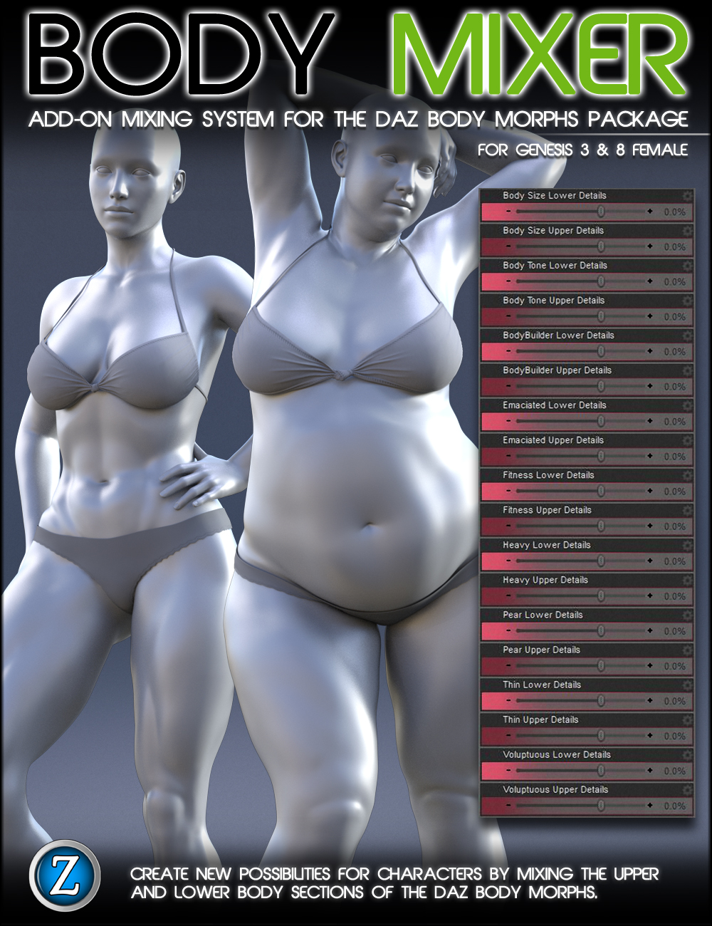 Body Mixer for Genesis 3 and 8 Female by: Zev0, 3D Models by Daz 3D