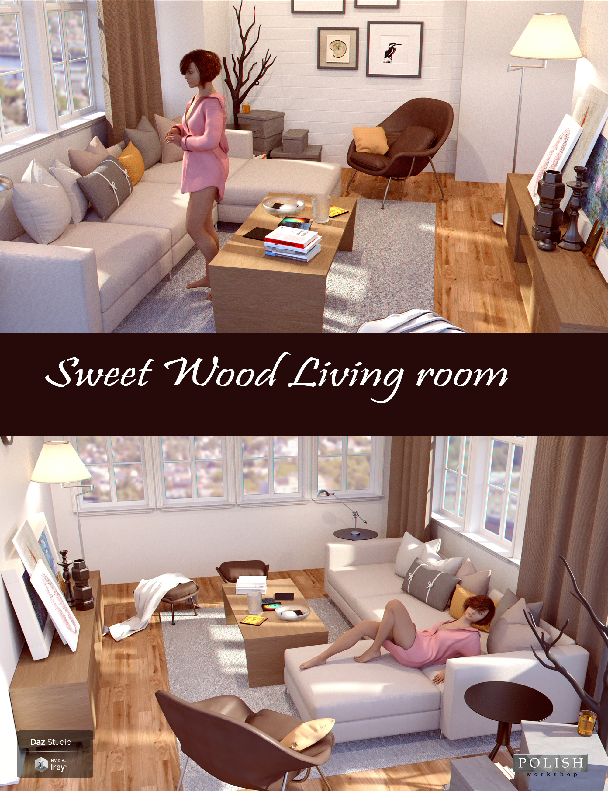 Sweet Wood Living Room by: Polish, 3D Models by Daz 3D