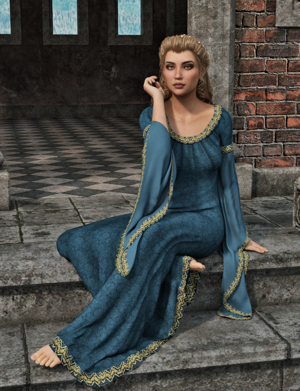 dForce Camilla Medieval Gown for Genesis 8 Female(s) by: PandyGirlWildDesigns, 3D Models by Daz 3D