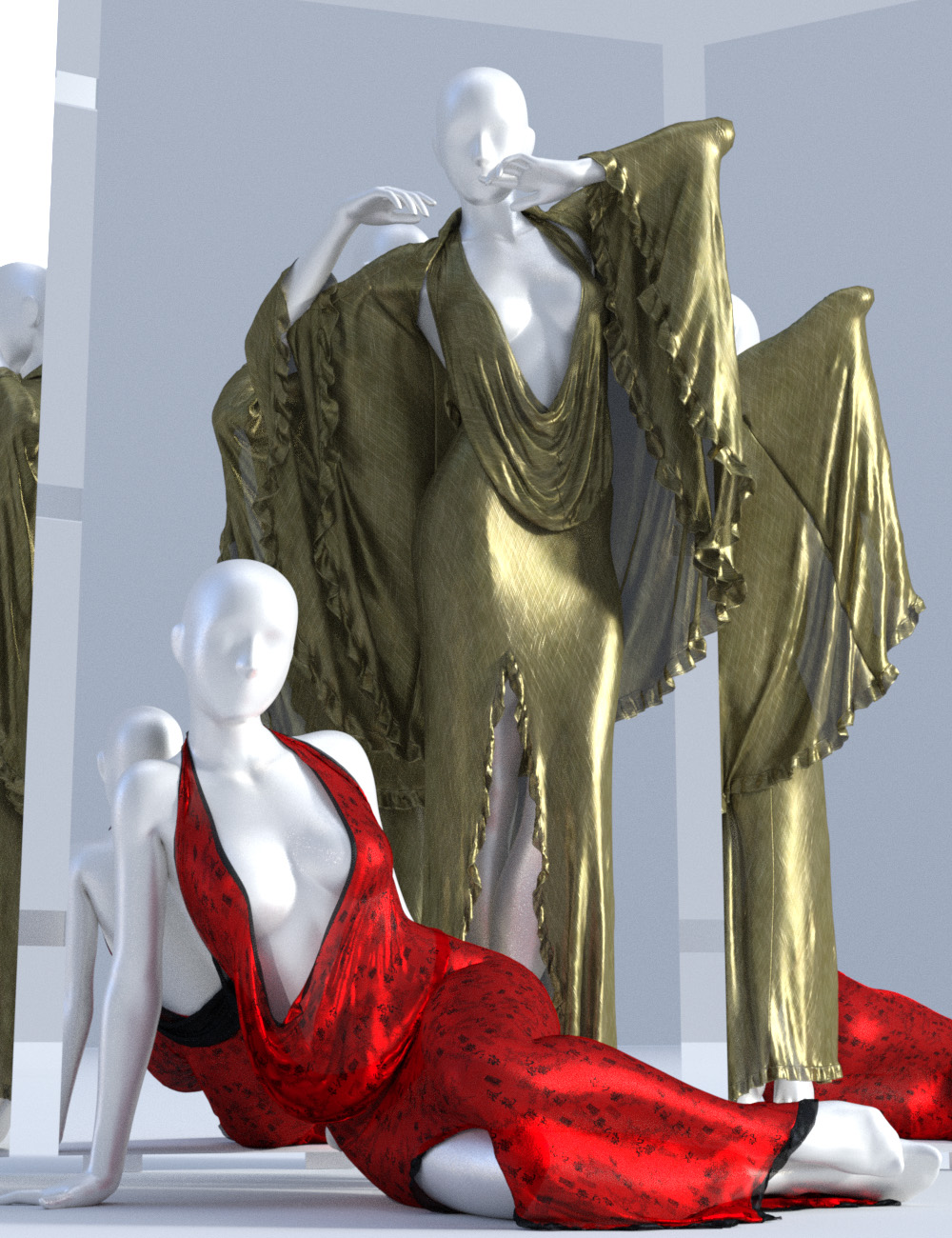 dForce Femme Fatale Dress for Genesis 3 and 8 Female(s) by: Sshodan, 3D Models by Daz 3D