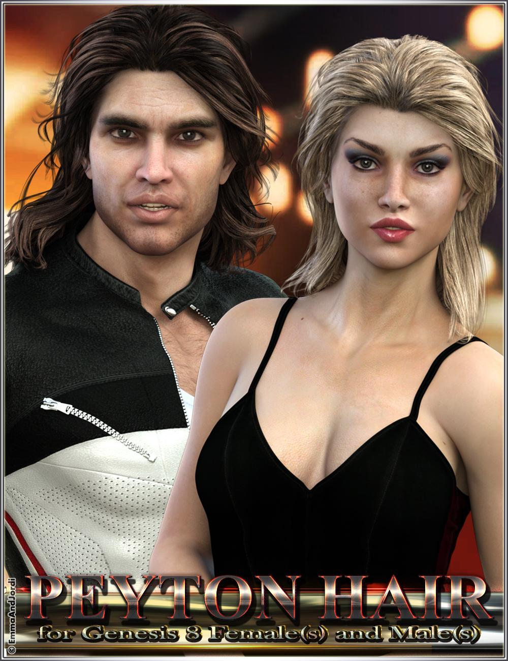 Peyton Hair for Genesis 8 by: EmmaAndJordi, 3D Models by Daz 3D
