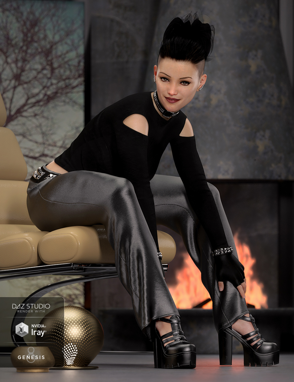 dForce Chic Fashion Gothic Outfit for Genesis 8 Female(s) by: chungdanNathy, 3D Models by Daz 3D