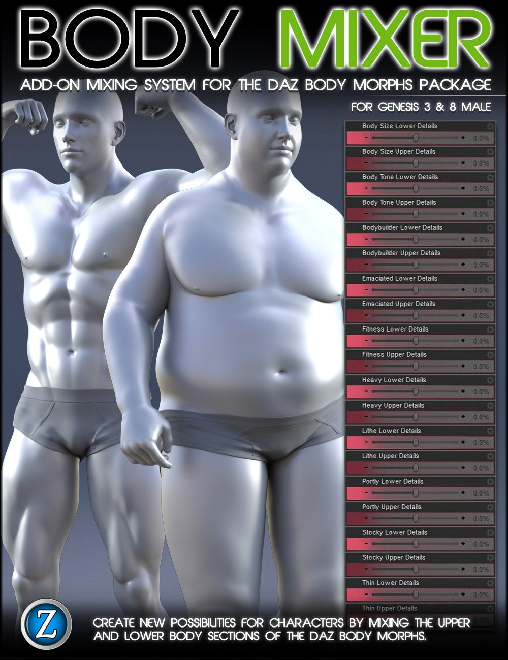 Body Mixer for Genesis 3 and 8 Male by: Zev0, 3D Models by Daz 3D