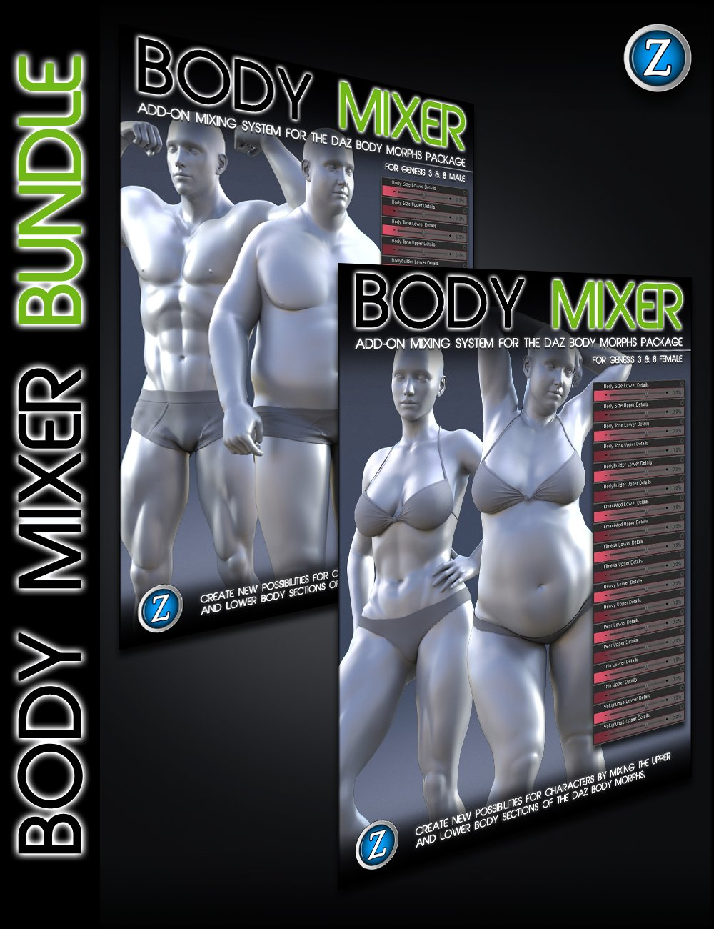 Body Mixer Bundle for Genesis 3 and 8 Male and Female by: Zev0, 3D Models by Daz 3D