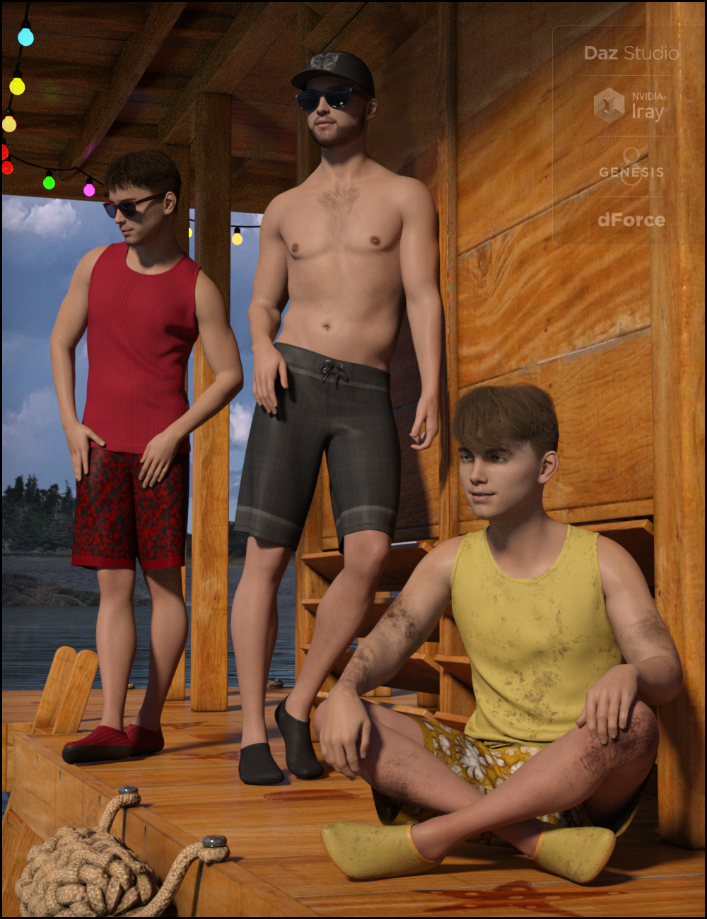 dForce Boys in the Sun Outfit for Genesis 8 Male(s) by: Fisty & Darc, 3D Models by Daz 3D