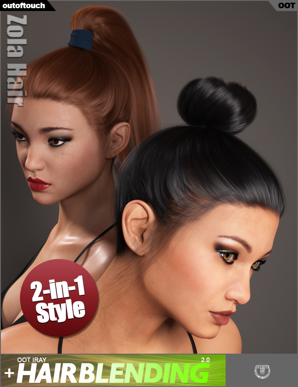 Zola Hair for Genesis 3 and 8 Female(s) by: outoftouch, 3D Models by Daz 3D