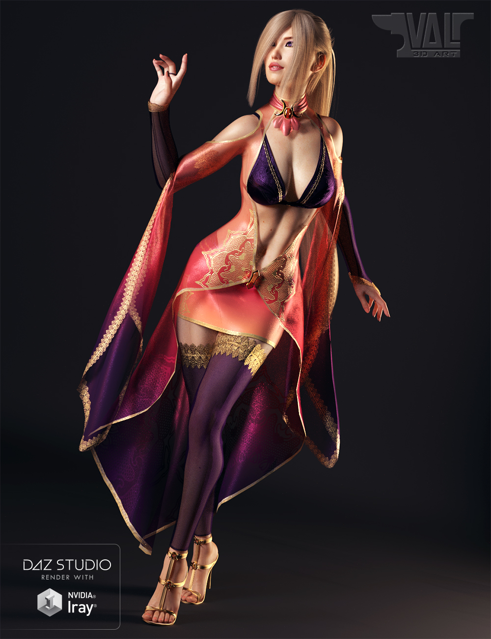 dForce Twilight Sorceress Outfit for Genesis 8 Female(s) by: Val3dart, 3D Models by Daz 3D