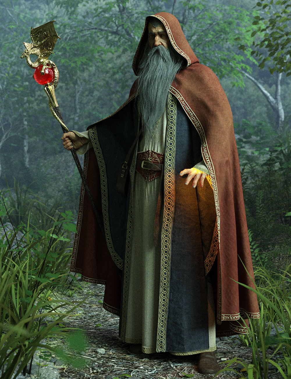 dForce Wise Wizard HD Clothes for Genesis 8 Male(s) by: Luthbel, 3D Models by Daz 3D