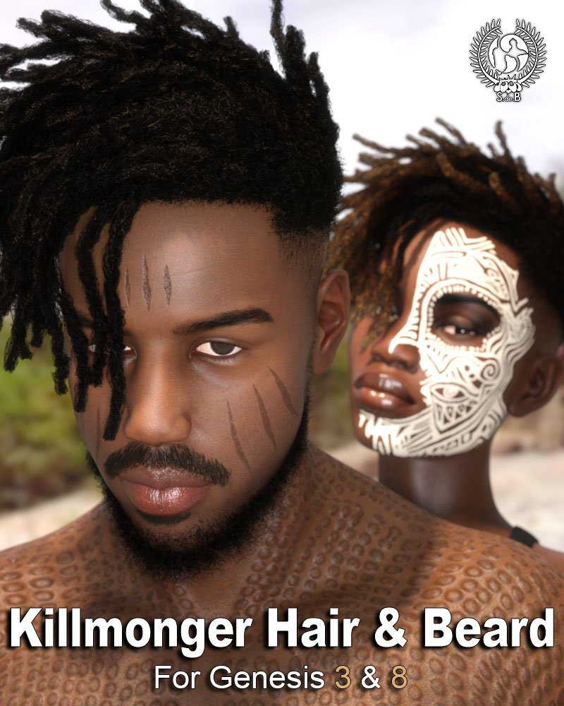 Killmonger Hair and Beard for Genesis 3 and 8 by: SamSil, 3D Models by Daz 3D