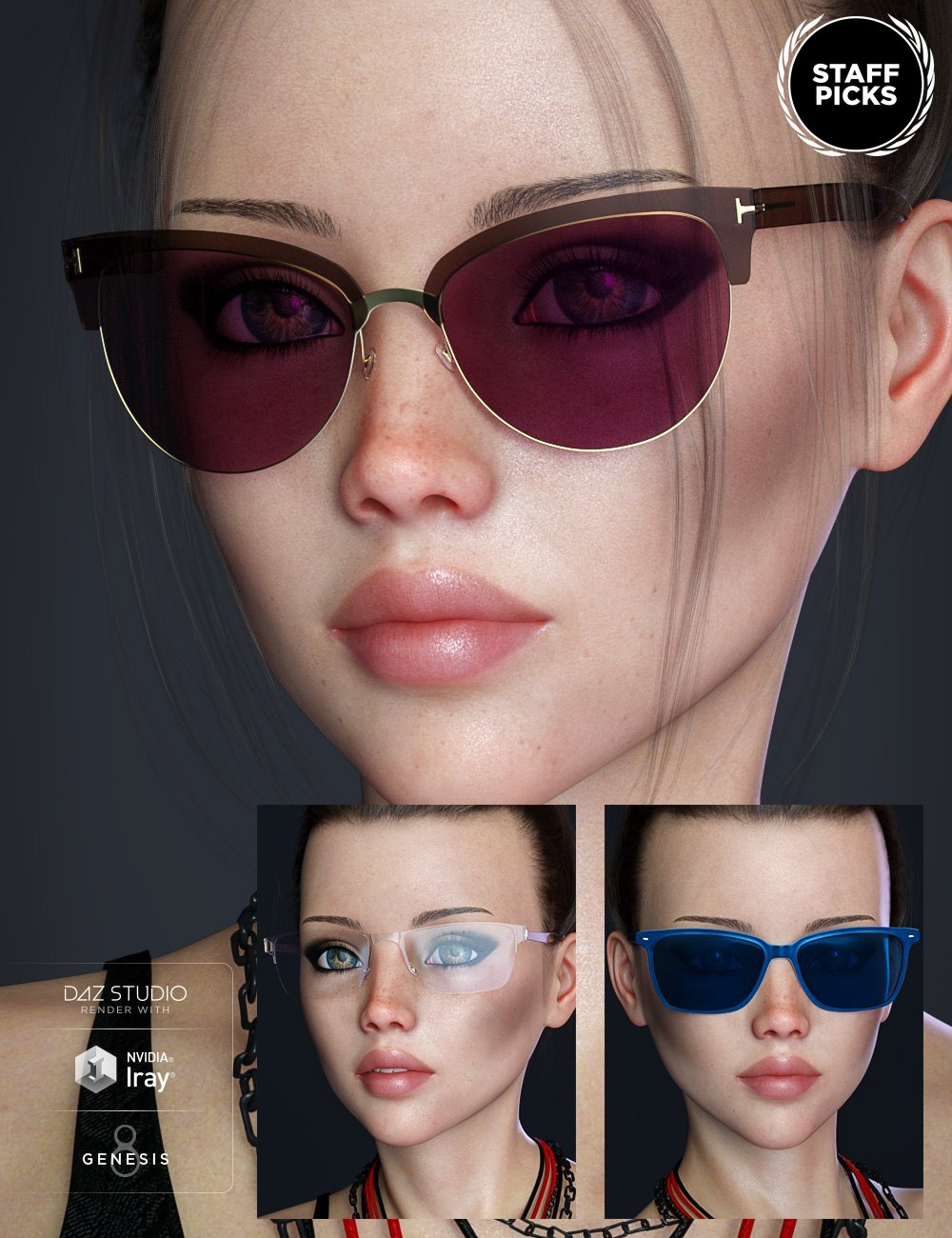Alt Style Glasses for Genesis 8 Male(s) and Female(s) by: Renderwelten, 3D Models by Daz 3D