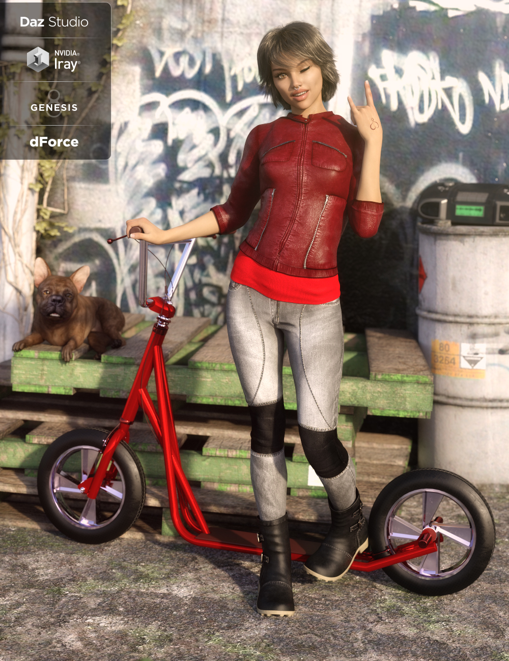 dForce Sleek Rider Outfit for Genesis 8 Female(s) by: DirtyFairyUmblefugly, 3D Models by Daz 3D