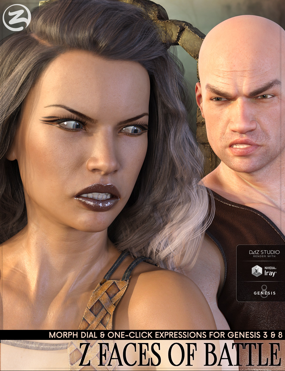 Z Faces Of Battle - Dialable and One-Click Expressions for Genesis 3 and 8 by: Zeddicuss, 3D Models by Daz 3D