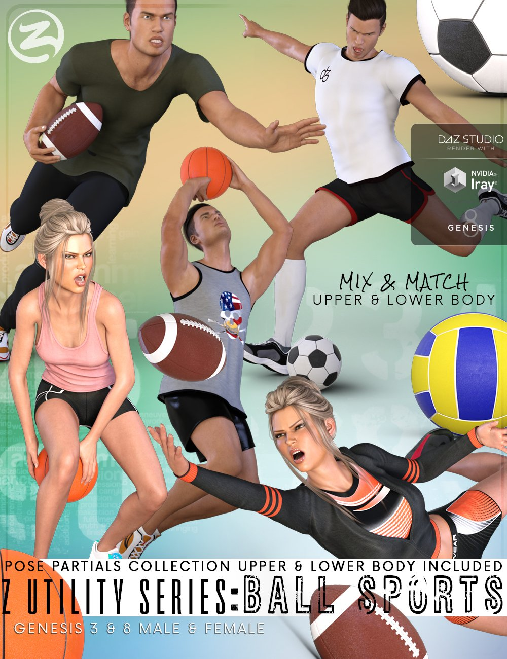 Z Utility Series : Ball Sports - Props, Poses and Partials for Genesis 3 and 8 by: Zeddicuss, 3D Models by Daz 3D