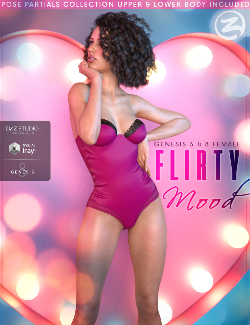 Z Flirty Mood - Poses and Partials for Genesis 3 and 8 Female by: Zeddicuss, 3D Models by Daz 3D