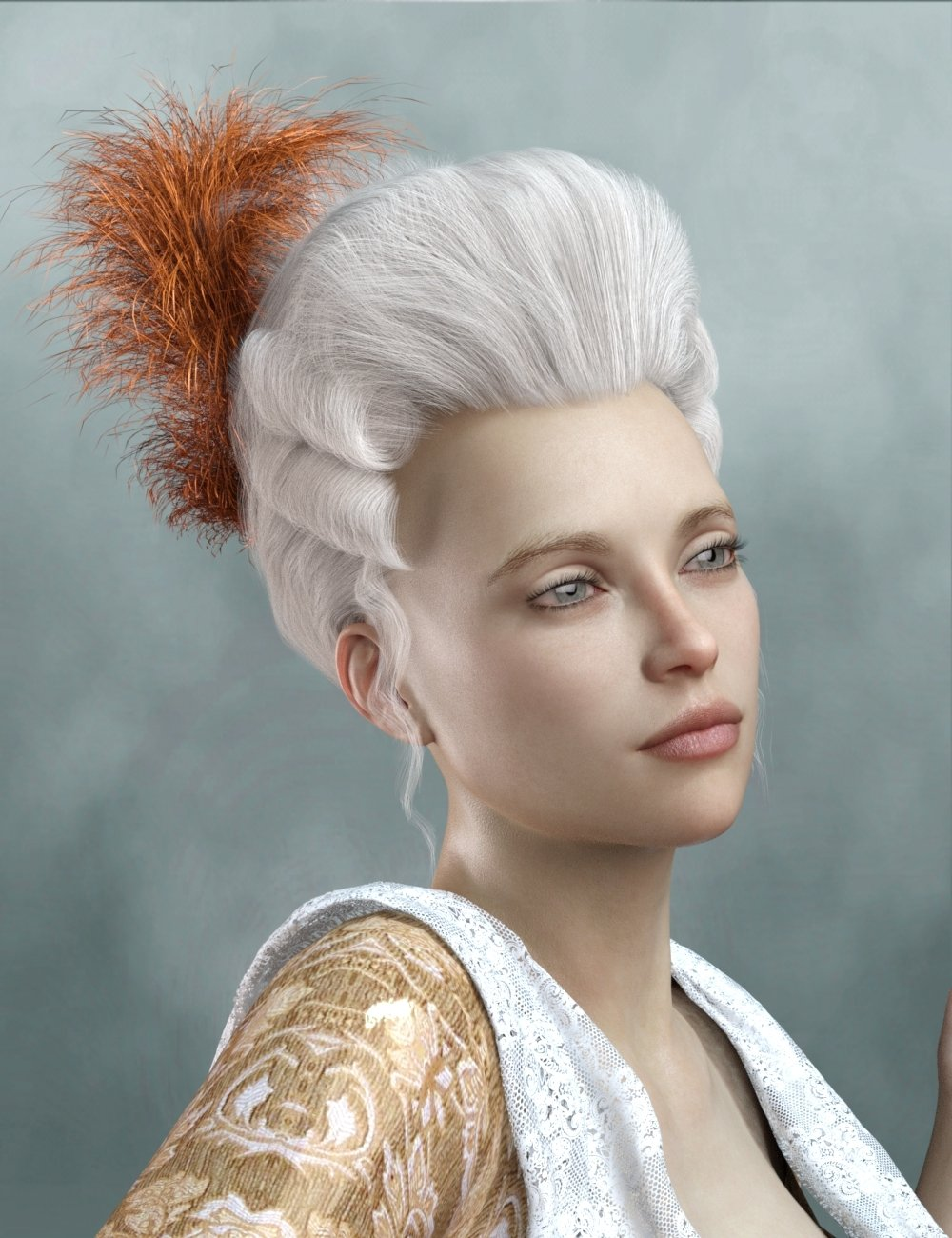 Historical Hair for Genesis 8 and 3 Female(s) by: RedzStudio, 3D Models by Daz 3D