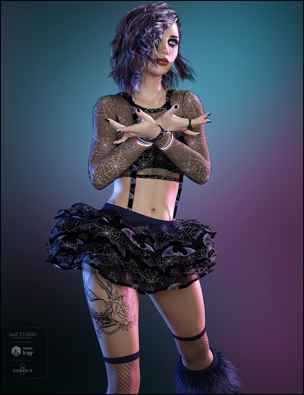 Party Monster Outfit Goth Textures by: JessaiiDemonicaEviliusRaziel, 3D Models by Daz 3D