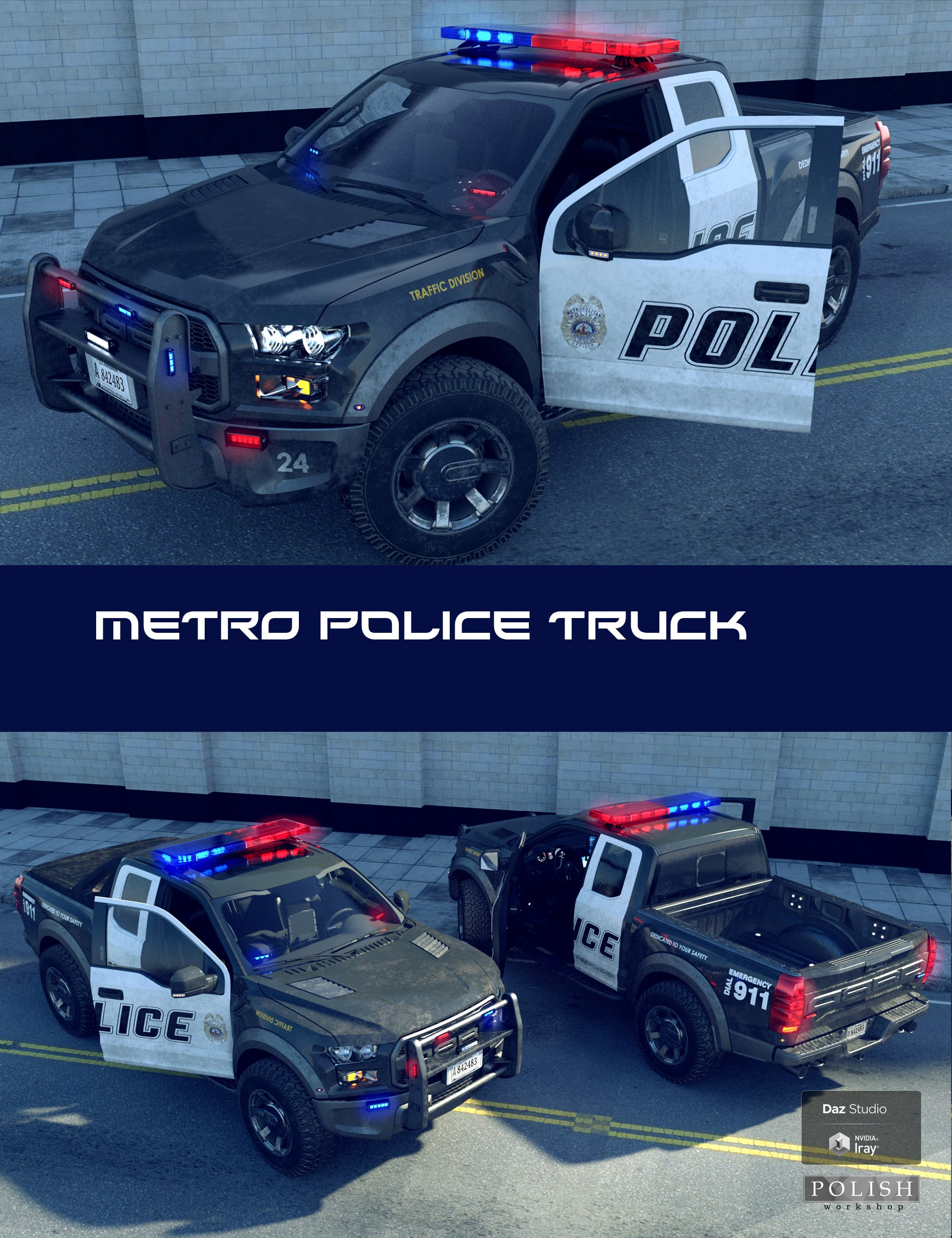 Metro Police Truck by: Polish, 3D Models by Daz 3D