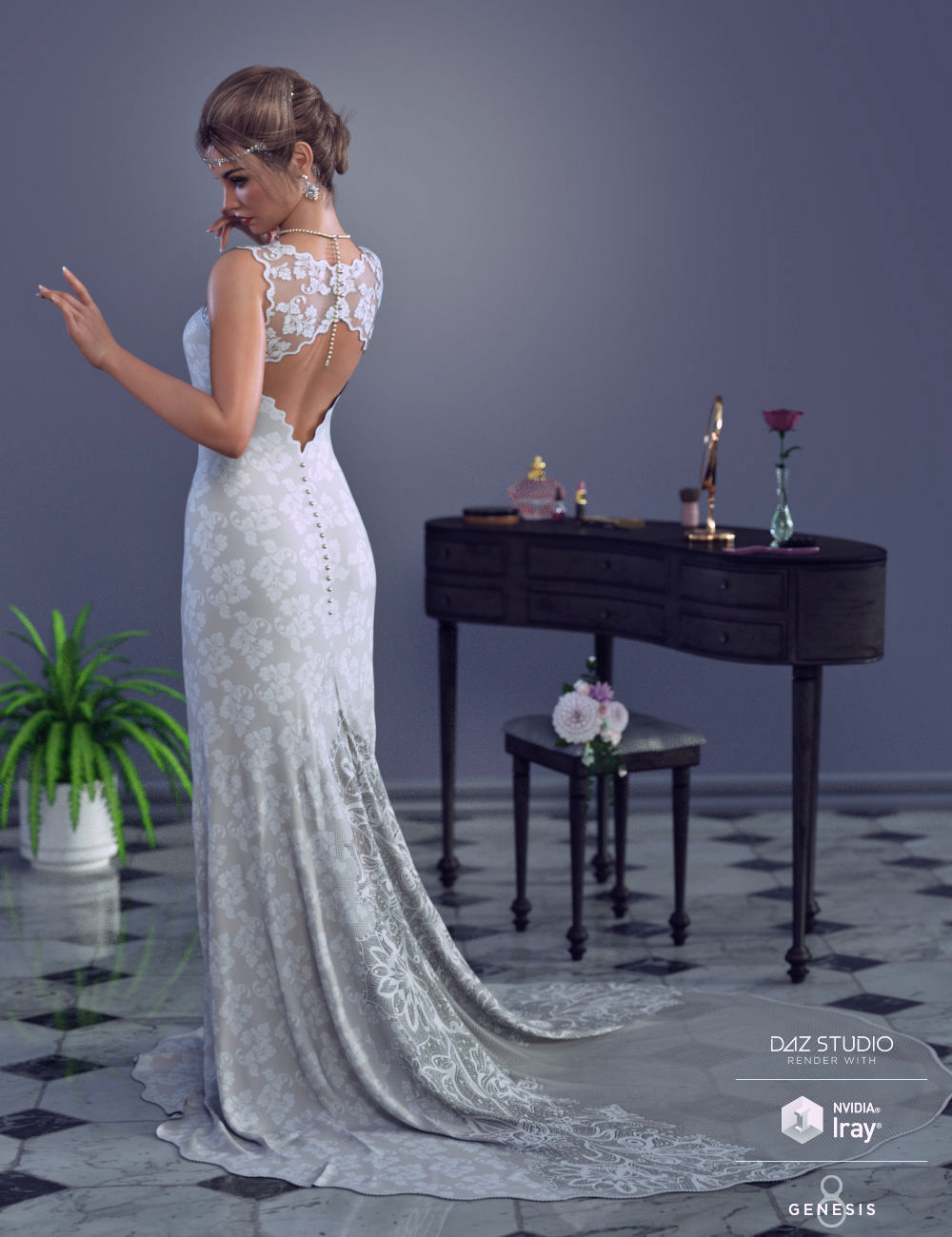 dForce White Wedding Outfit for Genesis 8 Female(s) by: PandyGirlWildDesigns, 3D Models by Daz 3D