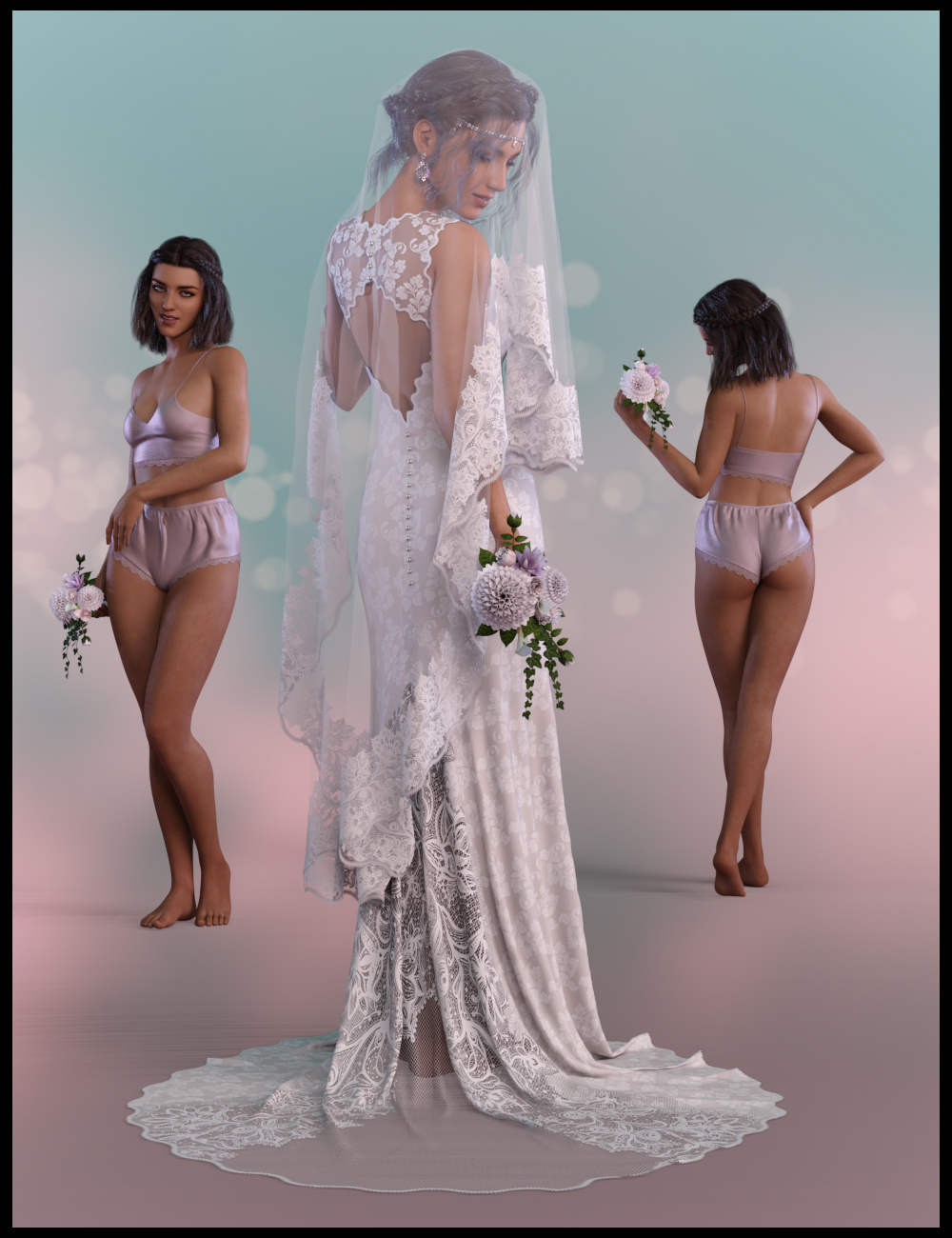 White Wedding dForce Ready Poses for Genesis 8 Female by: lunchladyPandyGirl, 3D Models by Daz 3D