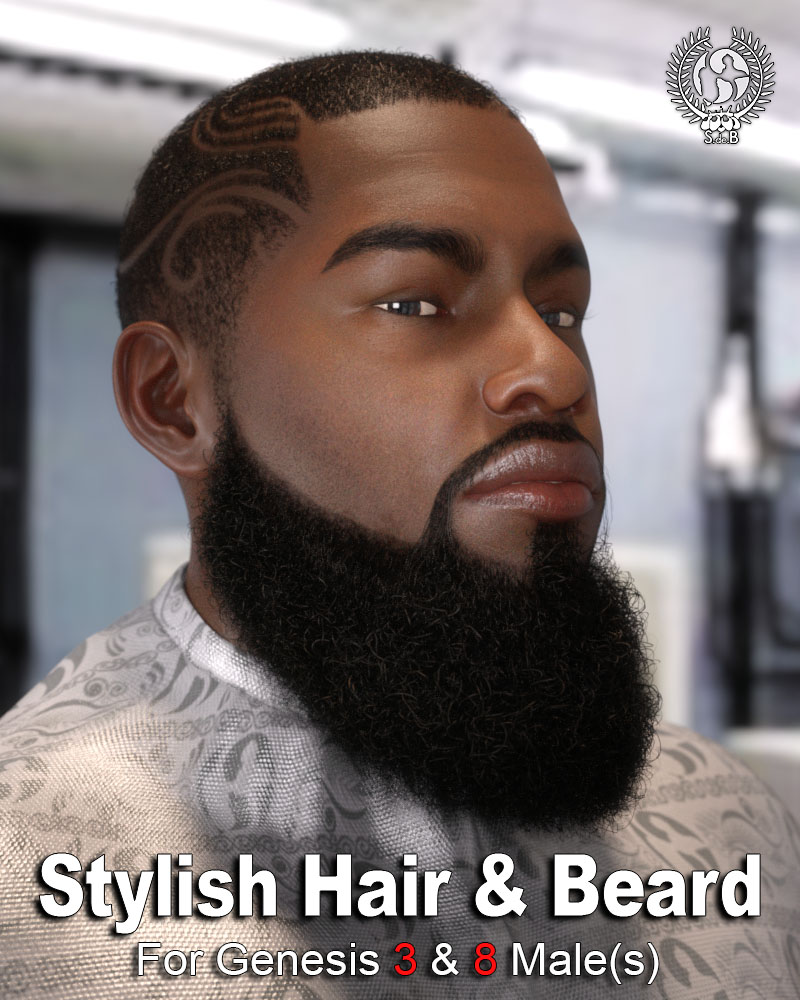 Stylish Hair and Beard for Genesis 3 and 8 Male(s) by: SamSil, 3D Models by Daz 3D