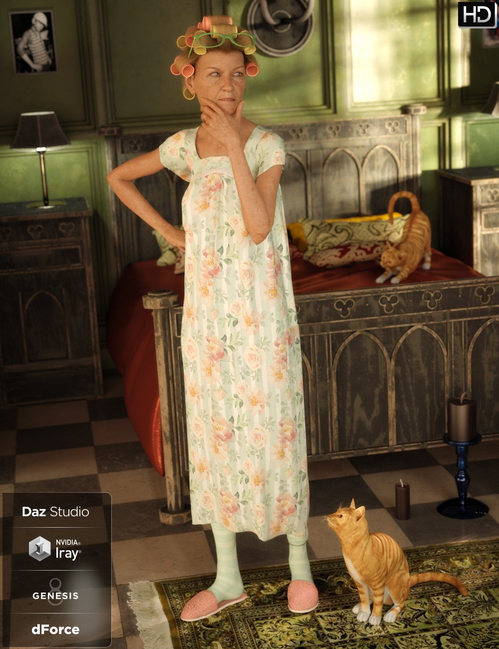 dForce Granny Nightgown Outfit for Genesis 8 Female(s) by: Anna BenjaminBarbara BrundonUmblefugly, 3D Models by Daz 3D