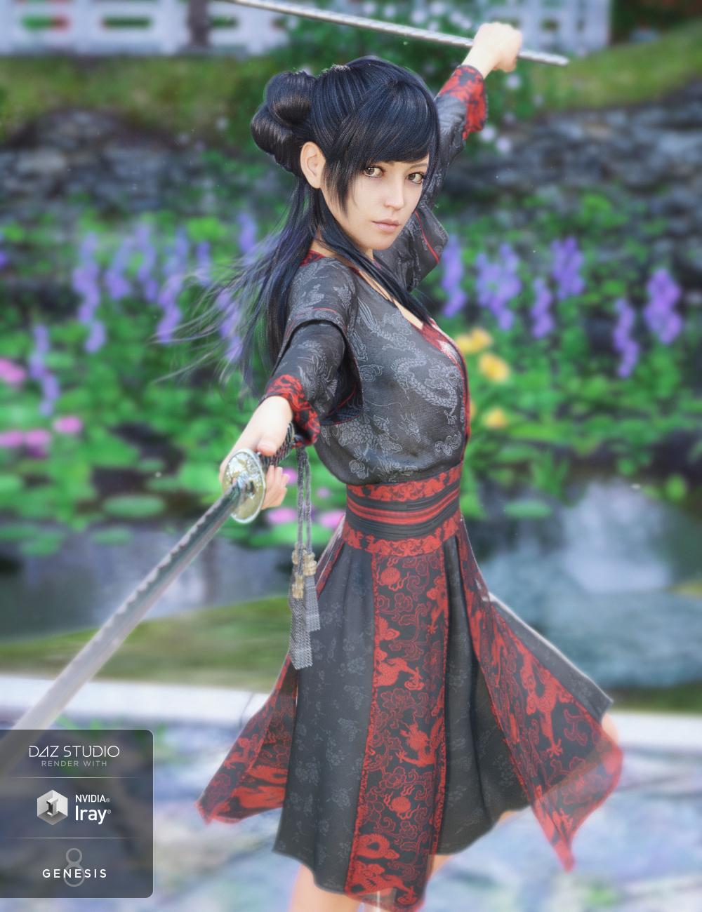 dForce Hanfu Dress for Genesis 8 Female(s) by: Crocodile Liu, 3D Models by Daz 3D