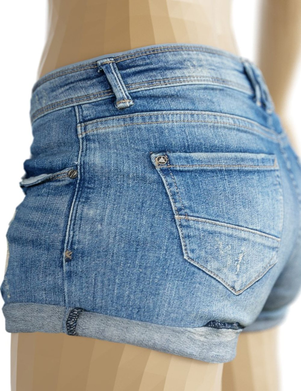 OBJ- Ripped Tiny Jeans Shorts by: Polygonal Miniatures, 3D Models by Daz 3D