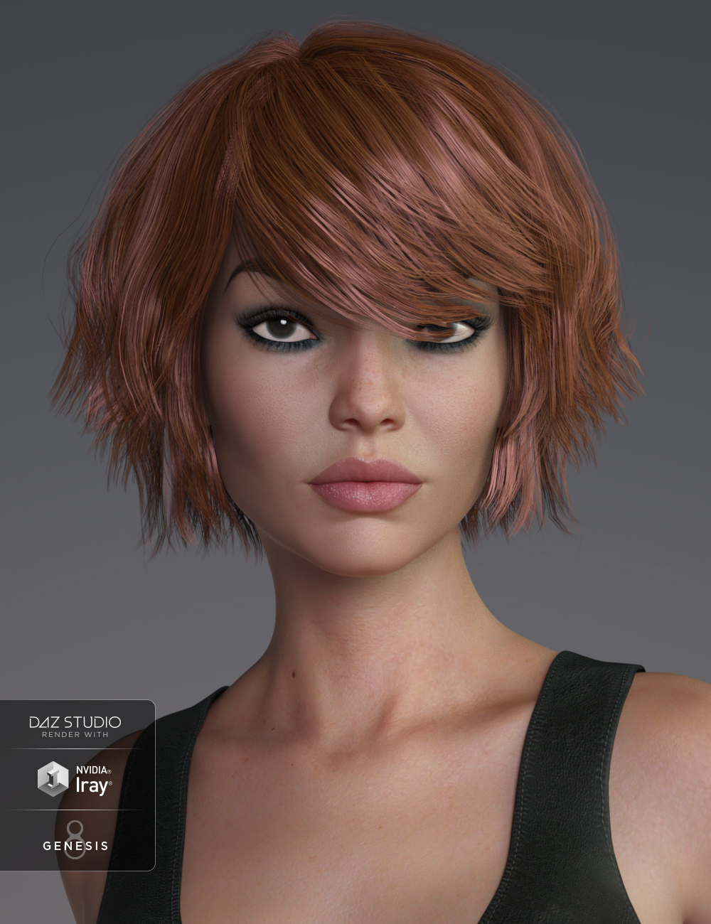 Pop Cut Hair for Genesis 3 and 8 Female(s) by: SWAM, 3D Models by Daz 3D