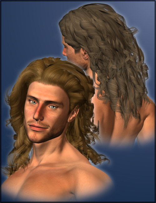 Curly Hair for Men by: the3dwizardMAB, 3D Models by Daz 3D