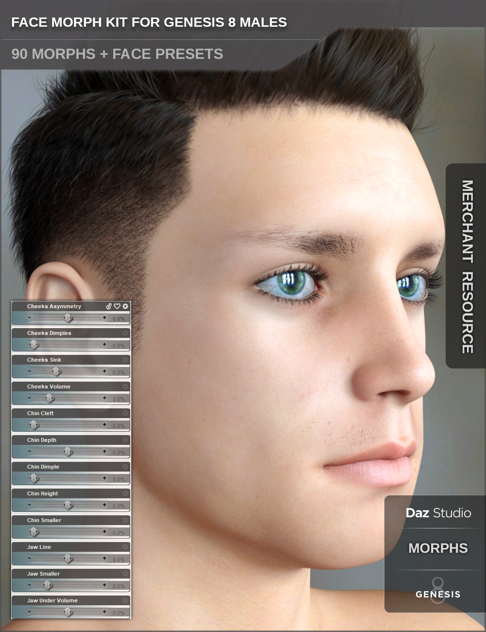 Face Morph Kit for Genesis 8 Male by: SF-Design, 3D Models by Daz 3D