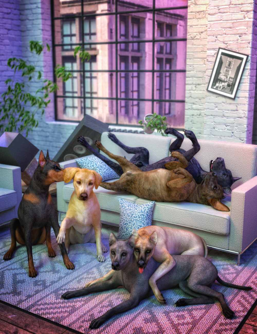 Comical Canine Poses for Daz Dog(s) 8 by: Skyewolf, 3D Models by Daz 3D