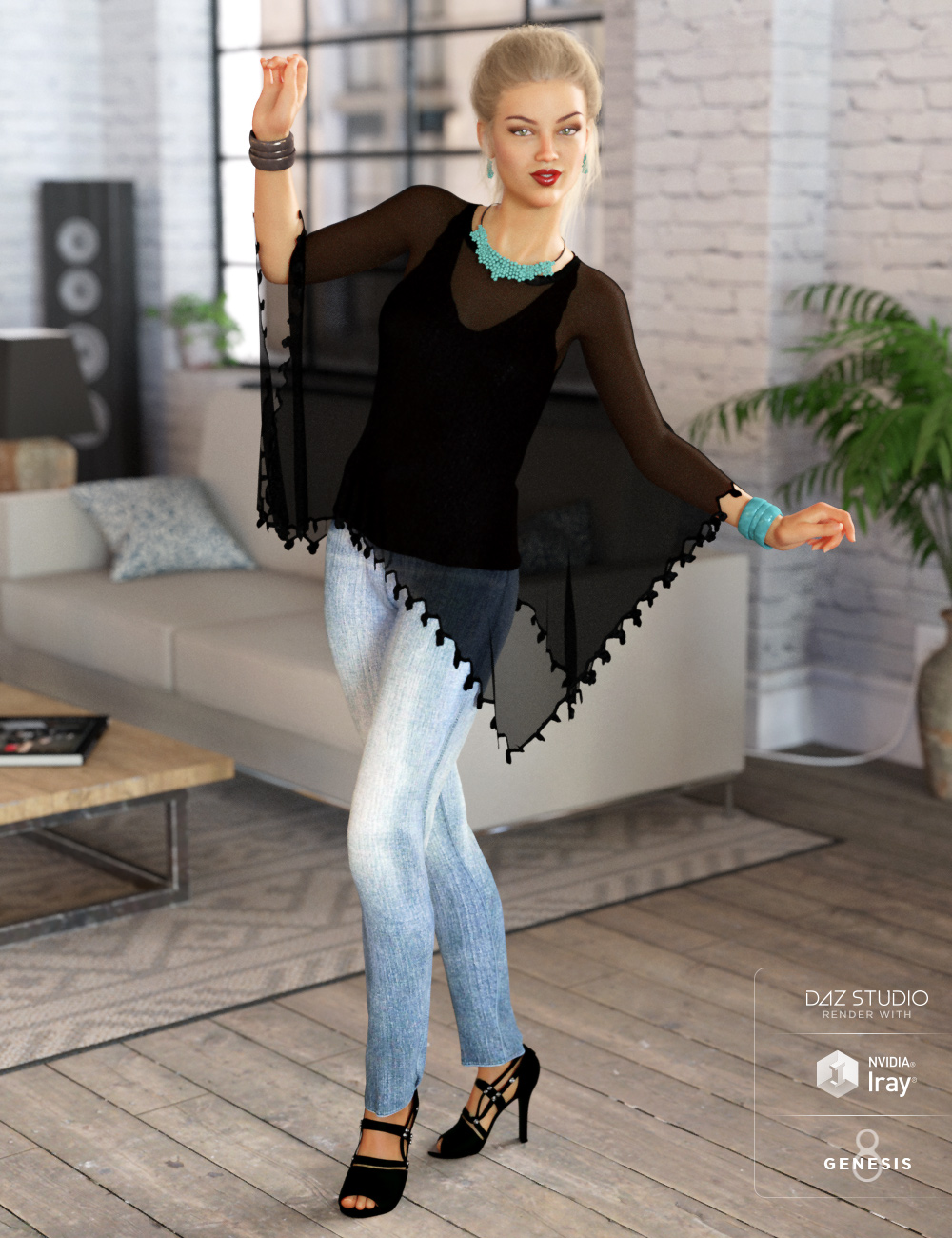 dForce Breezy Day Outfit for Genesis 8 Female(s) by: Barbara BrundonShox-DesignUmblefugly, 3D Models by Daz 3D