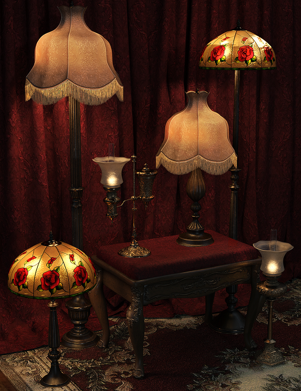 Vintage Lamps Iray by: LaurieS, 3D Models by Daz 3D